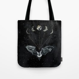 Bat and Moon Phases, Black and Gold Painting, Celestial Stars Moon Witchy Tote Bag