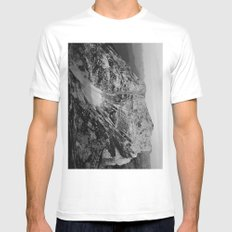 Mountain on the edge MEDIUM White Mens Fitted Tee