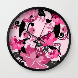 Retro Damask Flowers, Swirls and Leaves Wall Clock