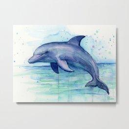 Dolphin Watercolor Sea Creature Animal Metal Print