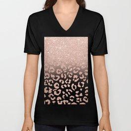 Trendy modern faux rose gold glitter ombre leopard pattern Unisex V-Neck