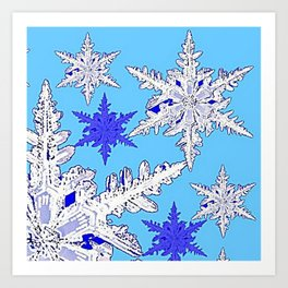 BEAUTIFUL BLUE & WHITE SNOW CRYSTALS  DESIGN Art Print