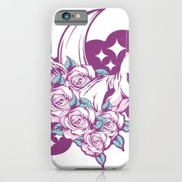 Pink dinosaur with flowers iPhone Case