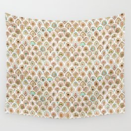 PEACOCK MERMAID Rose Gold Mint Scales and Feathers Wall Tapestry
