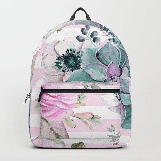 Simply Succulent Garden on Desert Rose Pink Striped Backpack