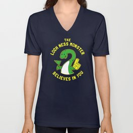 The Loch Ness Monster Believes In You Unisex V-Neck