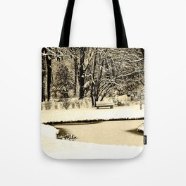 Winter scenery in a park Tote Bag