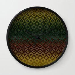Brown Green Gold Diamond Gradient Pattern Wall Clock