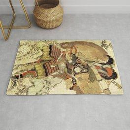Hokusai – Hatakeyama Shigetada carrying his horse,  葛飾 北斎, Samurai,Genpei,Jidaigeki. Rug