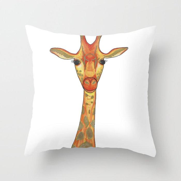 Orange and Gold Illustrated Giraffe Throw Pillow