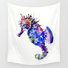 Blue Coral Seahorse, coral reef animals sea world blue purple decor Wall Tapestry