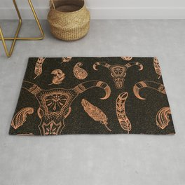 Elegant cow skeleton with feathers, pattern Rug