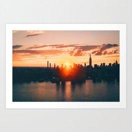 Sunrise in New York City (Color) Art Print