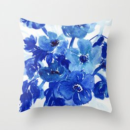 blue stillife Throw Pillow