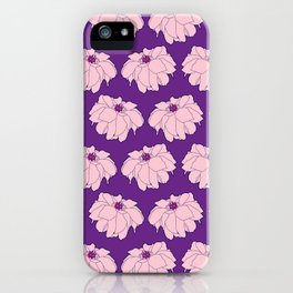 Pink Dahlia Flower Illustrated Print iPhone Case