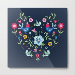 Scandi Folk Heart on Dark Metal Print