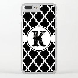 Black Monogram: Letter K Clear iPhone Case