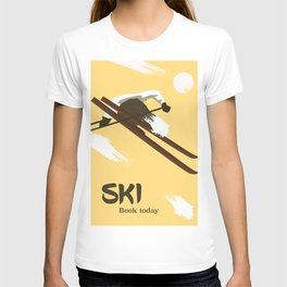 """Ski """"Book today"""" . Vintage style travel poster T-shirt"""