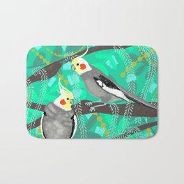 Cockatiels in Green Bath Mat