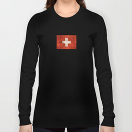 Vintage Aged and Scratched Swiss Flag Long Sleeve T-shirt