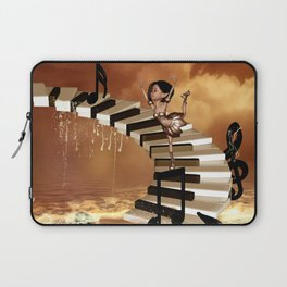 Cute little girl dancing on a piano Laptop Sleeve