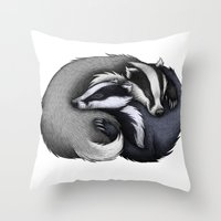 cuddle Throw Pillows featuring Badger Cuddle by Lyndsey Green Illustration