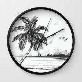 Beach graphic sketch art Wall Clock