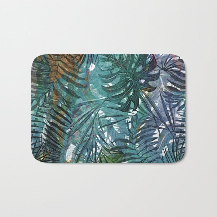 Aloha- Tropical Palm Leaves and Monstera Leaf Garden Bath Mat