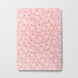 Pink Sprinkle Confetti Pattern Metal Print