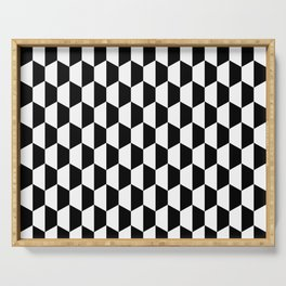 Black and white hexagons Serving Tray