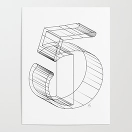 """"""" Numbers Collection """" - Number Five 3D Poster"""