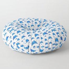 Nalu Cat Watercolor Pattern in Blue Floor Pillow