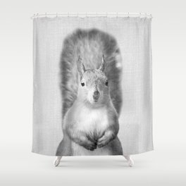 Squirrel - Black & White Shower Curtain