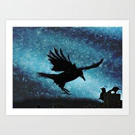 Descent of the Midnight Rook Art Print