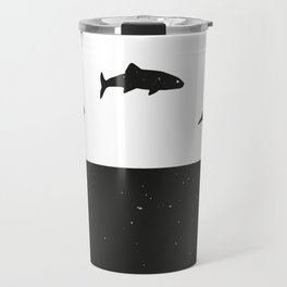 Fish print Black & White Travel Mug