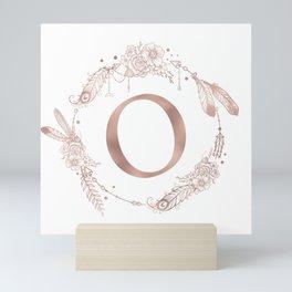 Letter O Rose Gold Pink Initial Monogram Mini Art Print