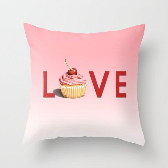 Perfect Pink Cupcake LOVE Throw Pillow