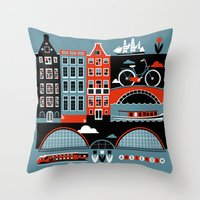 amsterdam Throw Pillows featuring Amsterdam by koivo