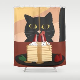 Carb Fiend aka Hungry Cat Eating Pancakes Shower Curtain