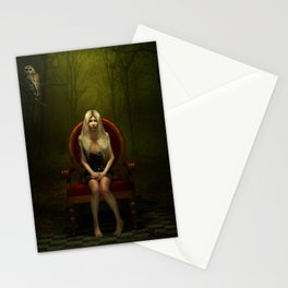 Dark wonderland Alice on a red chair Stationery Cards