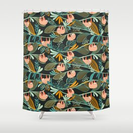 Jungle Sloths Dark Shower Curtain
