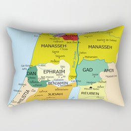 Map of Twelve Tribes of Israel from 1200 to 1050 According to Book of Joshua Rectangular Pillow