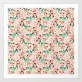 Pretty Watercolor Pink Peach Floral Girly Design Art Print