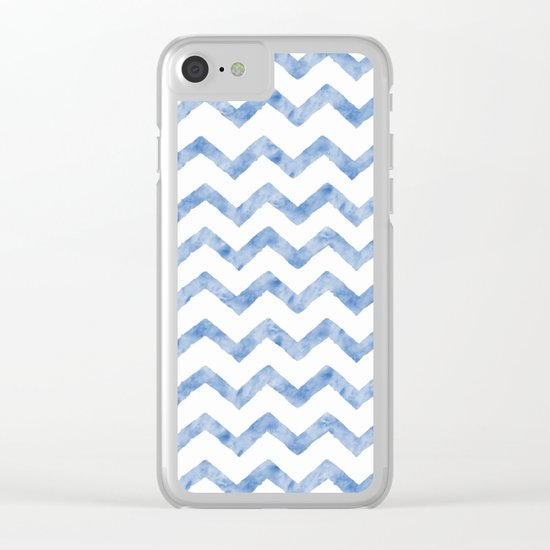 Chevron Light Blue And White Clear iPhone Case