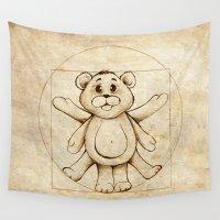 teddy bear Wall Tapestries featuring teddy bear by PiliArt