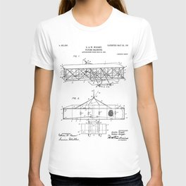 Wright Brother's Airplane Patent - Aviation History Art - Black And White T-shirt