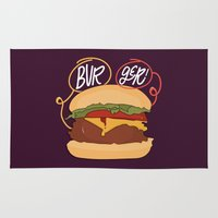 burger Area & Throw Rugs featuring Burger! by Chelsea Herrick
