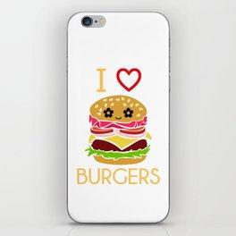 I Love Burgers Hamburger Fast Food Cheese Nuggets Design iPhone Skin