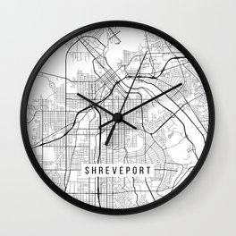 Shreveport Map, USA - Black and White Wall Clock