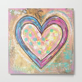 blue and pink hearts Metal Print
